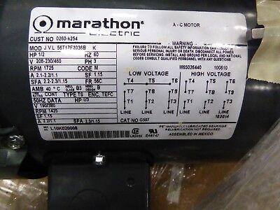 Marathon Electric K254 General Purpose Motor - 3 Ph 0.50 Hp 1725 Rpm 208-230
