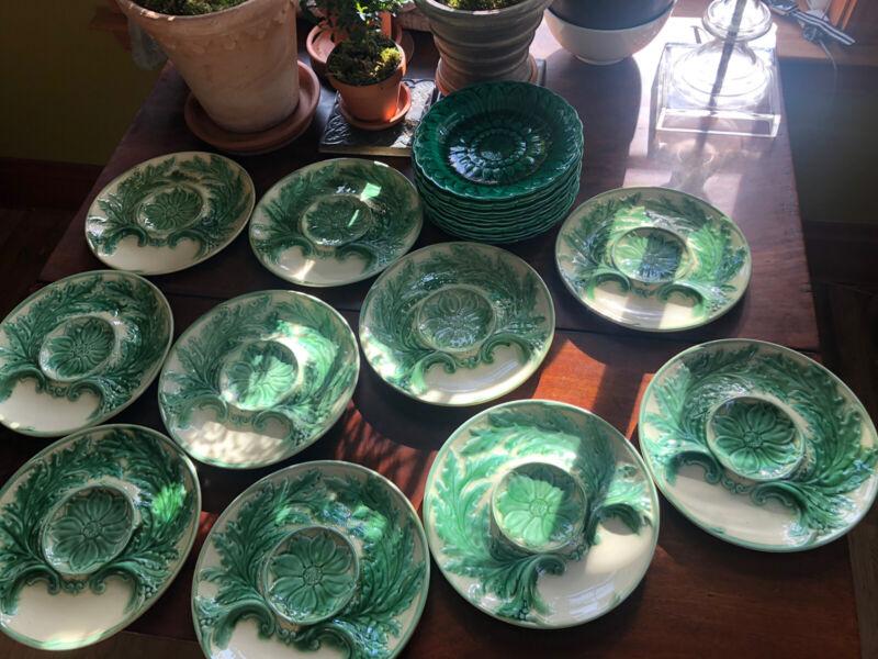 8 Gorgeous French Gien antique Majolica Artichoke Plates Green Cream