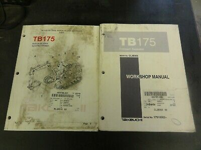 Takeuchi Tb175 Compact Excavator Workshop Manual With Parts Book Manual