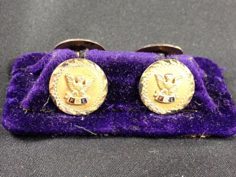 Vintage FOE FRATERNAL ORDER OF EAGLES  Gold TONE  Cufflinks BY W.H.B