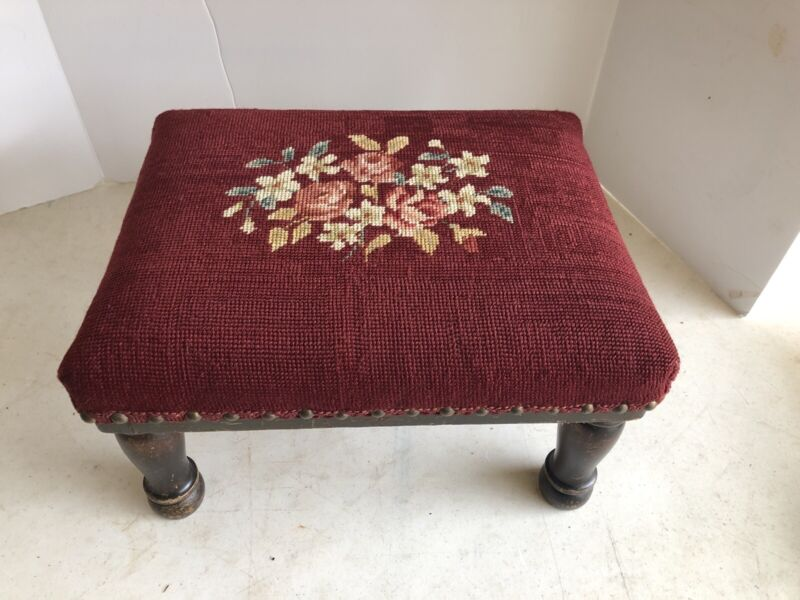 Antique Wooden Foot Stool Needlepoint Embroidery Cover Footstool Rest Flower