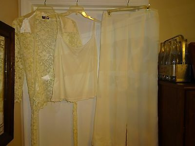 Fully Lined Lace Suit - Helen Blake 3 Piece Pants Suit Size 16 Ivory Fully Lined Polyester Lace L@@K