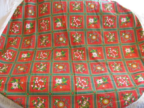 Christmas Holiday Vintage Print Round Tablecloth w Fringe - Poinsettias, Holly +