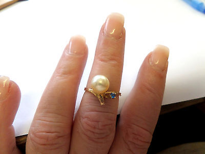 VINTAGE 10k YELLOW GOLD PEARL & SAPPHIRE LADIES RING UNIQUE SIZE 7