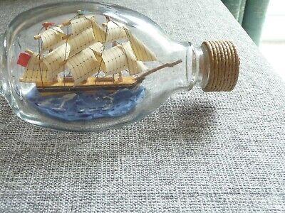 Vintage Ship In Bottle Dimple Whiskey Bottle 15cm long bottle S/N  SC145