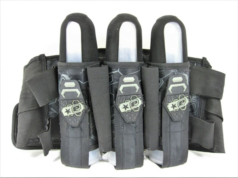PLANET ECLIPSE 3+4 PAINTBALL HARNESS BLACK GREY 3 CLEAR PODS