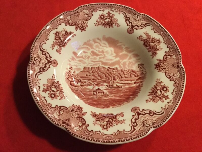 """Johnson Brothers OLD BRITAIN CASTLES PINK Rimmed Soup Bowl 8 3/4"""""""