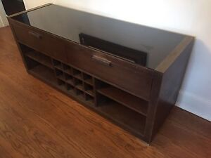 EQ3 Brown buffet with glass top