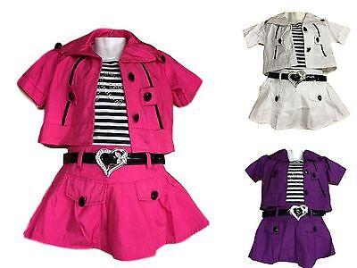 NEU Mädchen Sommer Kleid mit Weste Gürtel 3 Teile Set Gr. 104-152 pink,lila,weiß Sommer Kleid Set