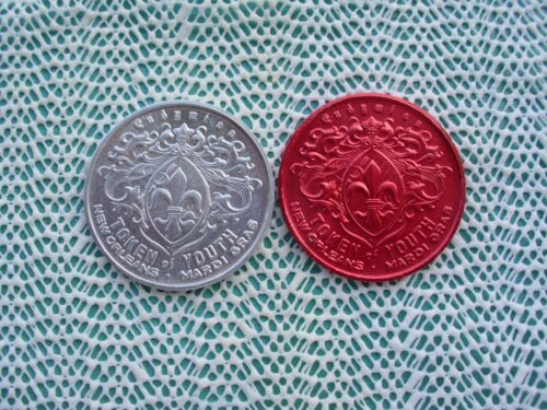 1979 Krewe of ENDYMION / KISS  aluminum and red aluminum Mardi Gras doubloons