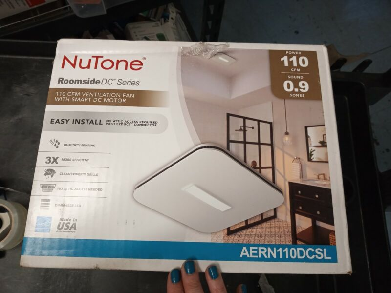 NuTone AERN110DCSL 110 CFM Humidity Sensing Exhaust Fan+Light+CleanCover