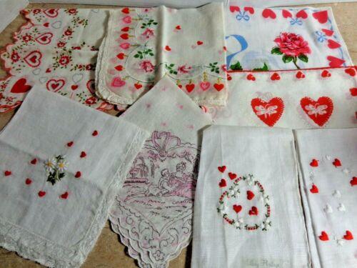 Lot of 8 Vintage Valentine Handkerchiefs