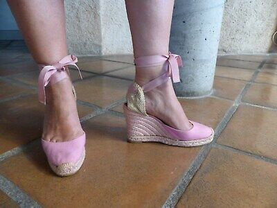 Espadrilles chaussures compensées roses christian louboutin pointure 37