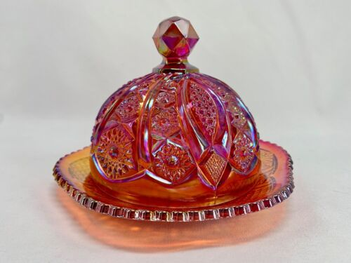 Indiana Glass Round Butter Dish Carnival Glass Heirloom Red Sunset Amberina