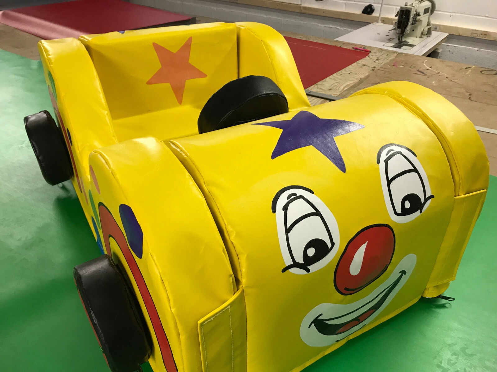Clown/ Circus Car Soft Play vel-cro together + carry bag. Hand Painted