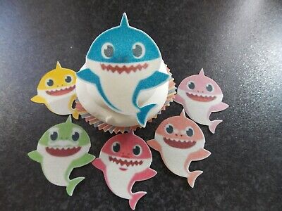 6 PRECUT Edible Large Baby Shark wafer/rice paper cake/cupcake toppers ()