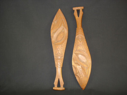 Two highly well-carved N.West Coast paddles, American Indian Artifacts, c.1915
