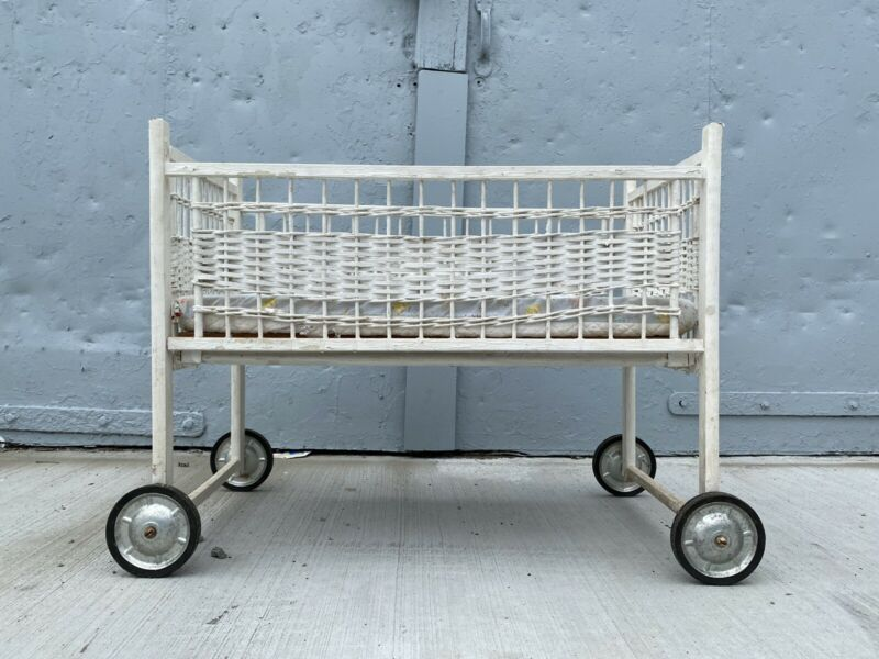 Vintage Baby Bassinet On Wheels