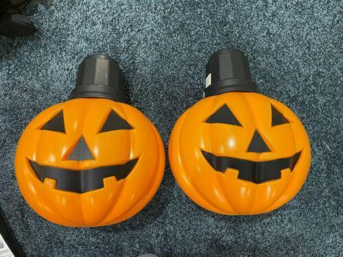 Lot of 2 Pumpkin Light Up Halloween Blow Mold Battery Operated Rare NEW
