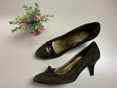 J.Crew Womens Brown Suede Pointed Toe Pumps Heels Slip On Shoes Italy Size -