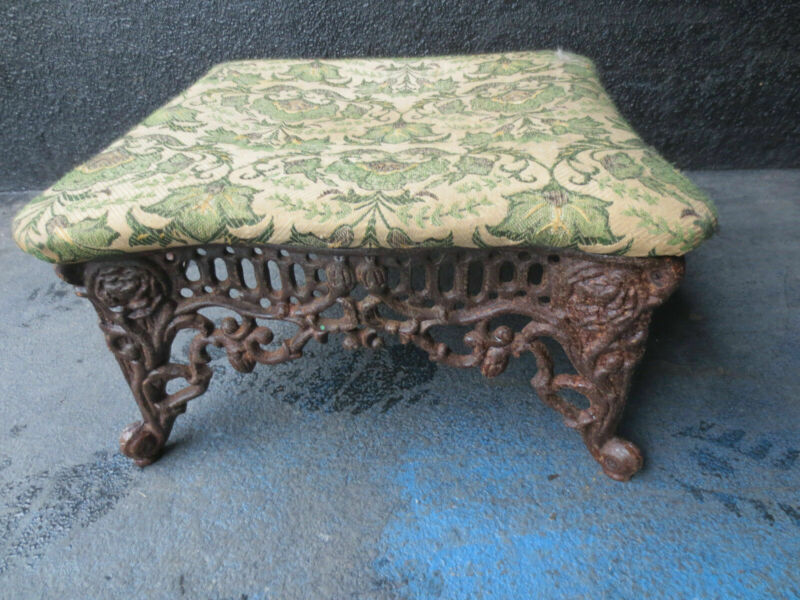 Cast Iron Victorian Foot Stool Vintage Antique Reproduction