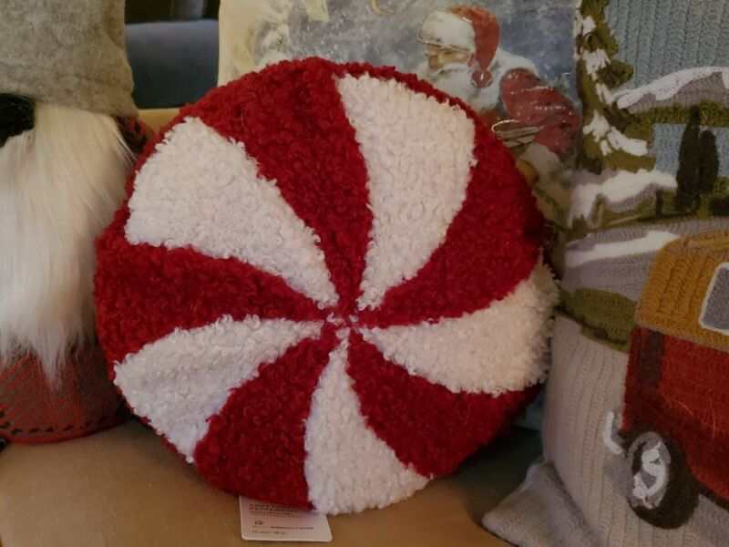 Pottery Barn Cozy Teddy Peppermint Pillow Christmas Brand New With Tags