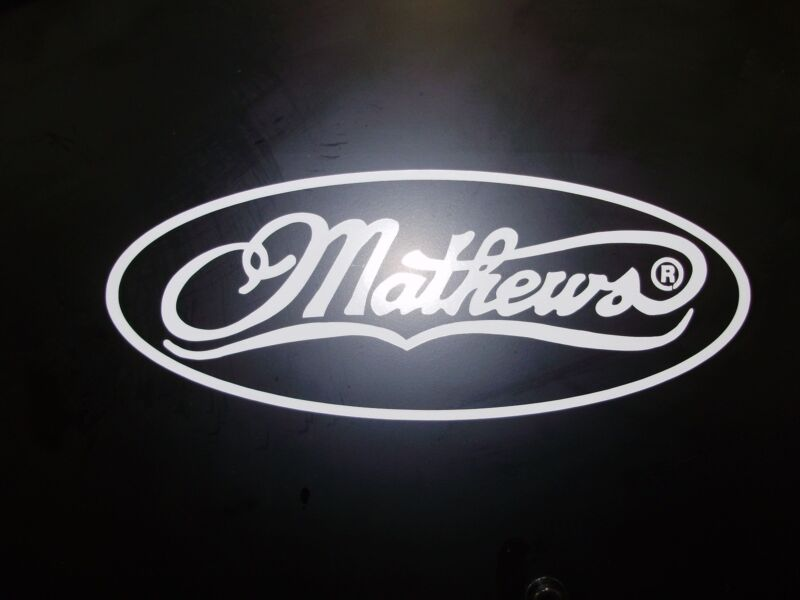 Mathews decal white 16 inches wide