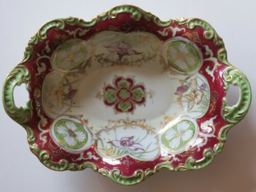 """ANTIQUE OVAL DISH BOWL CUTOUT HANDLES FLORAL SCALLOPED 10"""""""