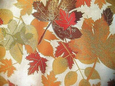 NEW FALL LEAVES TRIMMEDN GOLD METALI CREAM BACKGROUND SEW CRAFT FABRIC 3 YD