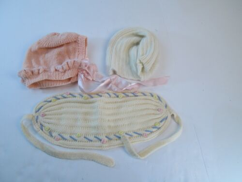 Vintage Lot of 3 Baby Infant Bonnets Hats Wool Angora Head Wrap