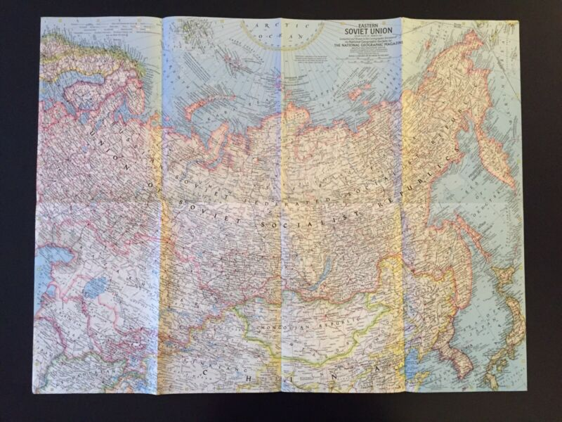 Vintage 1967 National Geographic Society Map of Eastern Soviet Union