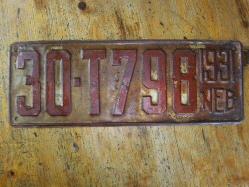 1931 NEBRASKA LICENSE PLATE 30-T798 CLAY COUNTY