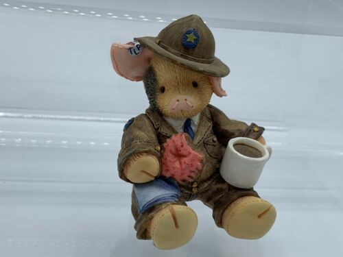 """Enesco """"This Little Piggy"""" Give an Officer a Hog-- Police Mountie Pig w/ Donut"""