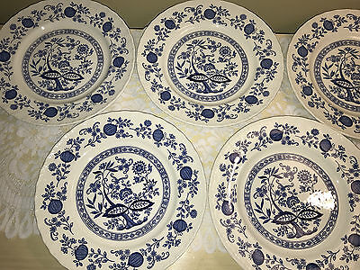 """Enoch Wedgwood  BLUE HERITAGE Onion  10"""" DINNER Plates   England   LOT of 5!!!"""