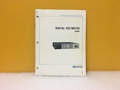 Hp Agilent 03456-90006 Digital Voltmeter 3456a Operating Manual