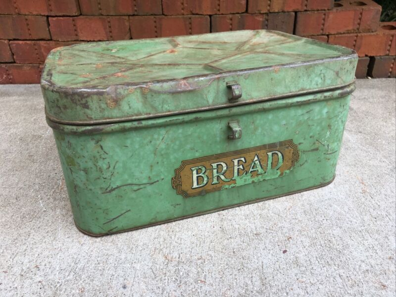 Vintage Tin Metal Bread Box Rustic Green Kitchen Counter Primitive