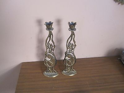 "Pair @ 2 Vintage Offer Judaica Metal Shabbat Candle Holder 11""x3"" Israel Menorah"
