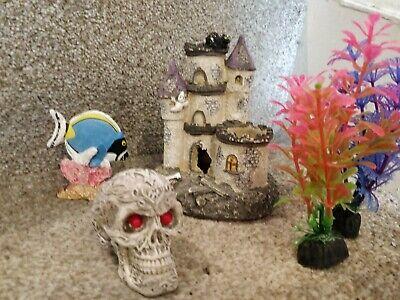 Aquarium Fish Tank Accessories, decorations skull, castle, artificial plants