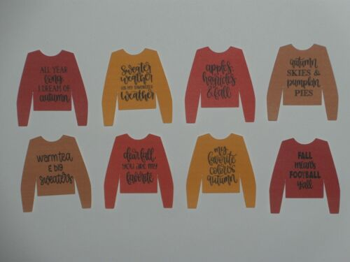 8 mini sweaters with autumn sayings  scrapbook greeting card diecut