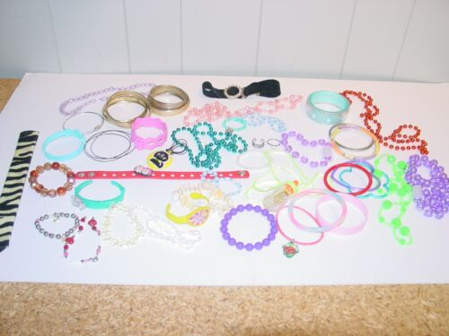 Lot 40 Young Girls Dress Up Pretend Play Jewelry Necklaces Bracelets Rings