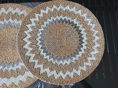 """TWO KIM SEYBERT 15"""" Silver- Gray- Cream Natural  Beaded PLACEMATS HANDCRAFTED"""