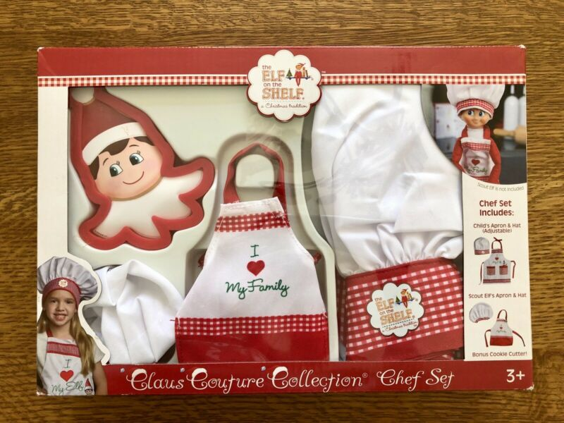 Elf on Shelf Claus Couture Chef Cook Set - Child & Elf Apron Hat & Cookie Cutter