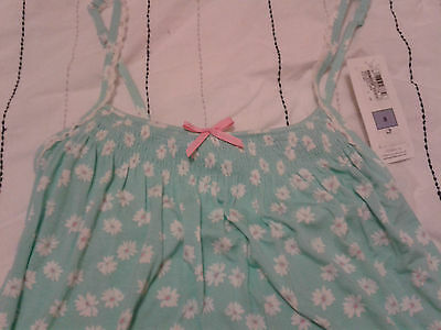 Aqua Floral Pyjama (BNWT m&s pyjama camisole aqua blue vest top daisy floral design Size 8)