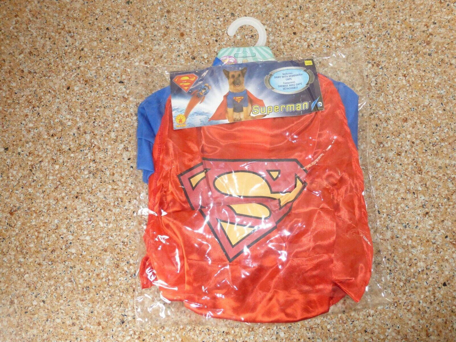 Superman Dog Costume W/ Cape Size Large Good For Cocker Spaniel Or Beagle - $12.50