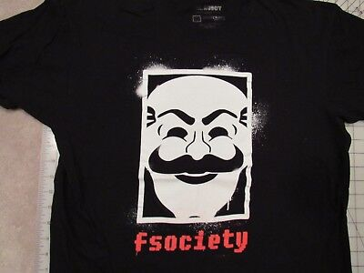 F SOCIETY Stencil Logo T-SHIRT Mens L Loot Crate Exclusive Mr Robot Lootcrate