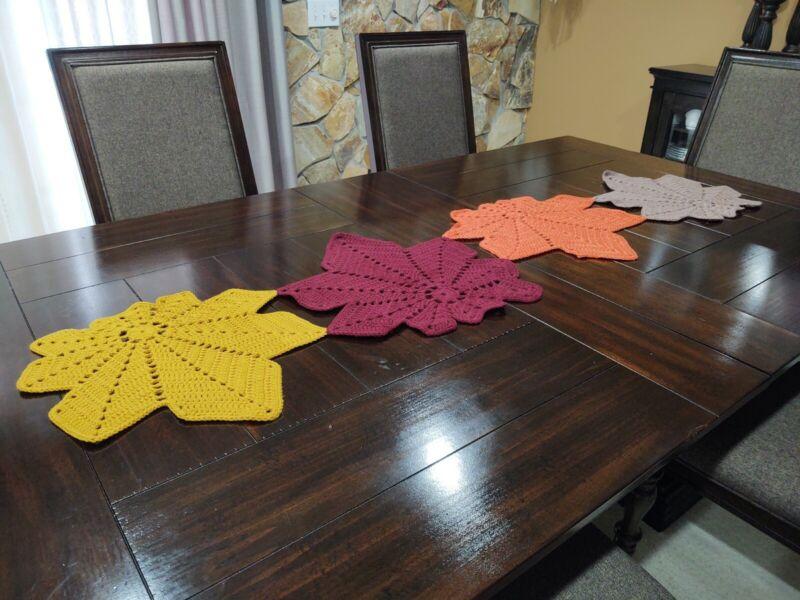 Autumn table runner handmade crocheted fall leaves