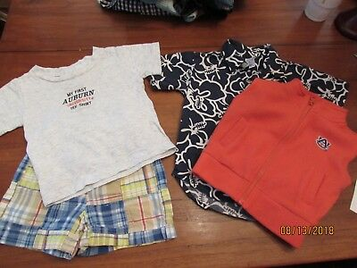 4-Size 18 Month Boy spring Madras Shorts Auburn University Vest T-Shirt Old Navy
