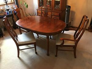 Table, 4 Chairs, and China Cabinet Set