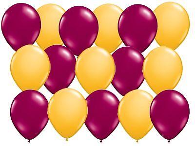Burgundy Balloons (16 balloons Burgundy Gold goldenrod marigold Wedding school colors alumni)