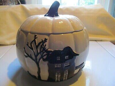 Cheryl's Ceramic Halloween Pumpkin Cookie Jar White
